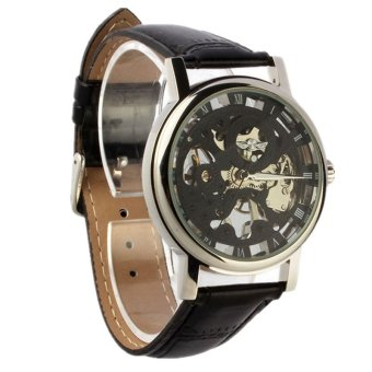 Harga Mens Luxury Mechanical Skeleton Watch Leather Strap Wristwatch (Black)