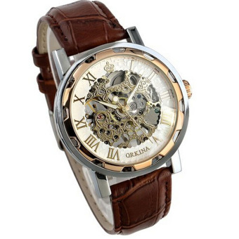 Harga Luxury Mans Leather Band Stainless Skeleton Mechanical Wrist Watch Rose Gold