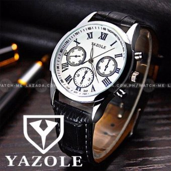 Yazole Men's Luminous 3 Eyes Brown Leather Strap Watch Price Philippines