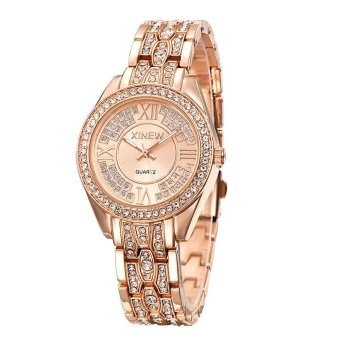 Harga Bessky Fashion Women Ladies Girl Stainless Steel Band Analog Quartz Wrist Watch Rose Gold Free shipping - intl