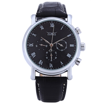 Harga JARAGAR F1205306 Male Auto Mechanical Watch 24 hours Calendar Display Transparent Back Cover Wristwatch (Black)