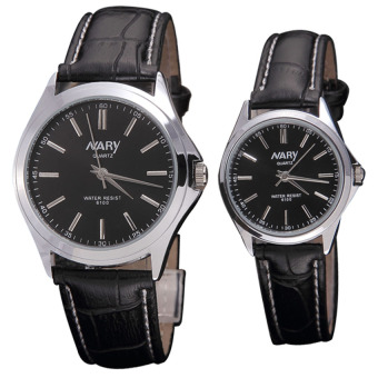 Harga Nary 6100 Lovers' Couple Leather Strap Quartz Wristwatch (Black)