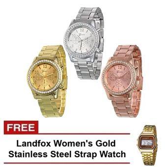 Harga Geneva Classic Round Ladies Bracelet Strap Watch Set of 3 and FREE Landfox Women's Gold Stainless Steel Strap Watch