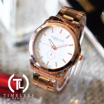 Harga Timeless Manila Claire Rosegold Plated Metal Watch (White)