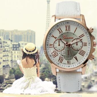 Geneva Women's Roman Leather Strap Watch (White) Price Philippines
