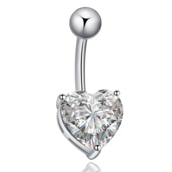Belly Piercing Navel Belly Ring Barbell Bar Crystal Heart Rose Silvery White Price Philippines