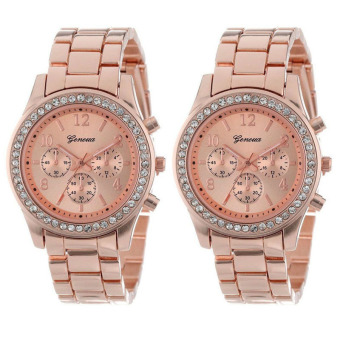 Harga 2 PACK Geneva Rose Gold Plated Classic Round Ladies Boyfriend Watch (Rose Gold)