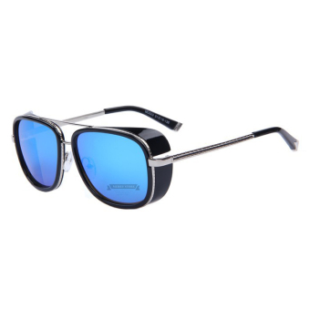 Harga IRON MAN 3 Matsuda TONY Steampunk Sunglasses Men Mirrored Designer Brand Glasses Vintage Sun glasses B1031-04(Silver Frame Blue Lens)