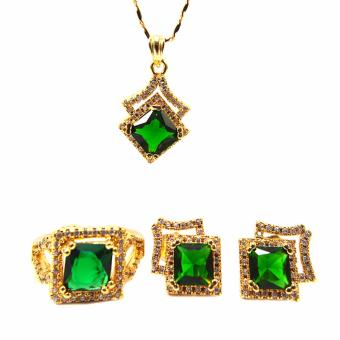 Jewelmine Arrow Emerald Cubic Zircon Jewelry Set (gold) Price Philippines