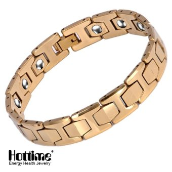 Hottime 15 PCS 99.99% Tungsten Germanium Bracelet&Magnetic Germanium Bracelet Never Fade IP Gold Plated Health Bio Energy Bracelets Bangles Men's Jewelry 10146 - intl Price Philippines