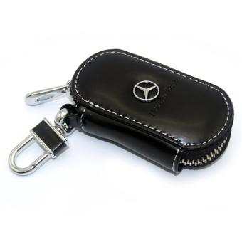 Leather Car Remote Key Holder Case Cover for Benz logo (Black) - intl Price Philippines