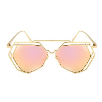 Harga Maldives 1641-14-Y Cool Kylie Metal Outline Design Aviator Sunglasses (Pink/Gold)