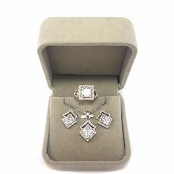 Jewelmine Arrow White Cubic Zircon Jewelry Set (white gold) Price Philippines