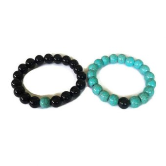 Harga Be Lucky Charms Feng Shui Couple Relationship Bracelets His and Her Black Onyx/Turqoise Bracelets