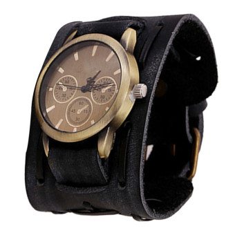 Harga Style Retro Punk Rock Brown Big Wide Leather Bracelet Cuff Men Watch (Black)