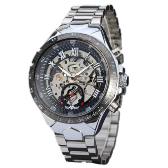 Harga New Skeleton Automatic Watches for Men Silver Stainless Steel (Silver)