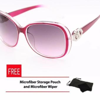 Oversized Sunglasses with Round Floral Concept for Women Violet Price Philippines