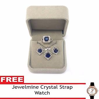 Jewelmine Arrow Blue Sapphire Cubic Zircon Jewelry Set with free Crystal Leather Strap Watch (white gold) Price Philippines