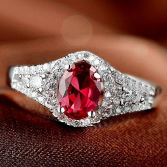 Women 3ct Engagement Ring S925 Silver Gemstone Ruby Prong Settings Solitaire Cocktail Ring - intl Price Philippines