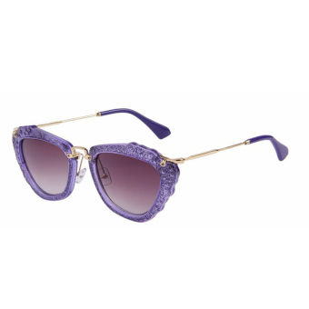 Harga Fashion Women Brand Design Cat Eye Sunglasses Candy Color Frame Gradient Lens Alloy Legs Oculos de sol UV400 A0024-02(Purple)