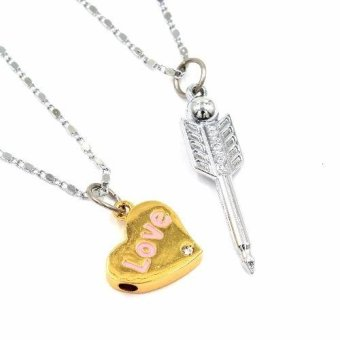 Venice Couple Necklace Gold Heart and Arrow 16 (Gold / Silver) Price Philippines