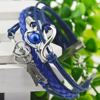 Jiayiqi Multilayer Leather Heart Arrow European Charm Bracelet Blue Price Philippines
