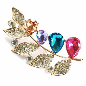 Multi Color Leaf Rhinestone Brooch For Women Price Philippines