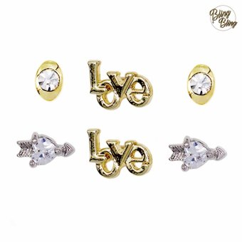 Harga Bling Bling Claire Gold Earrings Pair of 3