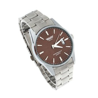 Harga Luxury Mens Stainless Steel Band Date Quartz Analog Sport Wrist Watch (Coffee)