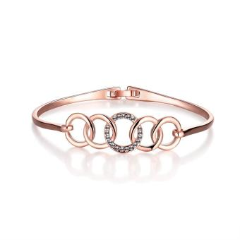 Fashion hollow circle crystal rose gold plated bangle jewelry Gift Bages - intl Price Philippines