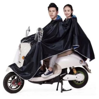 Harga Double 2-Person Waterproof Motor Raincoat (Black)
