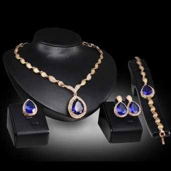 Harga Rich Long Gold Plated Crystal Rhinestone Necklace & Earrings & Bracelet & Ring Jewelry Sets