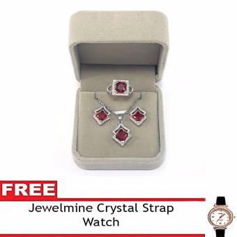 Jewelmine Arrow Ruby Cubic Zircon Jewelry Set with free Crystal Leather Strap Watch ( white gold) Price Philippines