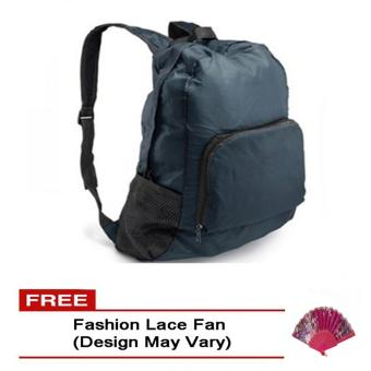 Harga Foldable Bag Pack (Navy Blue) free Fashion Lace Fan (Design May Vary)