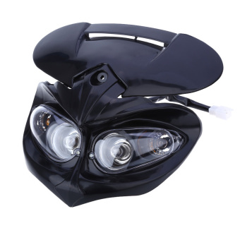 DC Motorcycle Dual Headlight Fairing Head Lamp for F-Eagle Apollo (Black)--TC Price Philippines