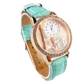 Harga Luxury Crystal Eiffel Tower Leather Watch Ladies Women Watches (Green)