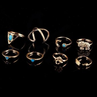 BUYINCOINS 7Pcs/Set Bohemian Sliver Plated Knuckle Ring Turquoise Arrow Moon Open Midi Ring Gold Price Philippines