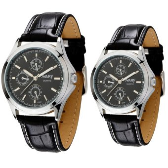 Harga NARY Couple's Digital Leather Strap Quartz Watch C-NR-6104-Black Leather