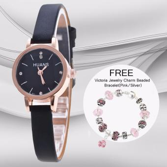 CWL Slim Chick Leather Strap Watch (Black) with FREE Victoria Jewelry Charm Beaded Bracelet(Pink/Silver) Price Philippines