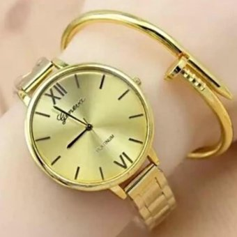 Geneva Roman Numerals Gold Steel-Belt Watch (Gold) Price Philippines