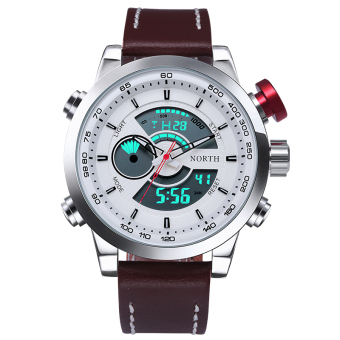 Harga Multifunction Sport Watch 30M Waterproof LED Digital Male Wristwatch 2016 Military Fashion Casual Quartz Watch (Silver) - Intl
