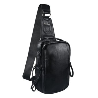 360WISH Korean Style Men's Outdoor PU Leather Chest Sling Pack Bag Crossbody Bag Single Shoulder Bag - Black Price Philippines