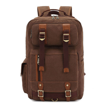 360WISH Kaukko FS261 Canvas Men Women Backpack Rucksack School Travel Laptop Bag - Coffee Price Philippines