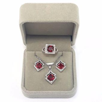 Jewelmine Arrow Ruby Cubic Zircon Jewelry Set ( white gold) Price Philippines