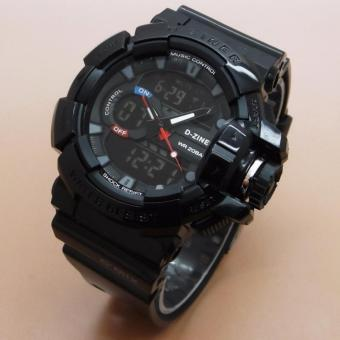 Harga D-ZINER DZ-8089 Black Resin Dual Time Mens Sports Analog Digital Watch