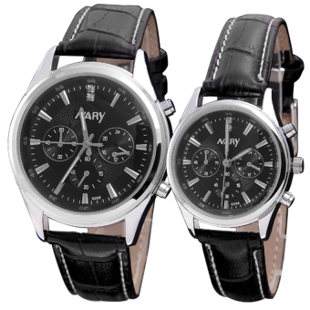 Harga NARY Couple Black Leather Strap Watch 6098