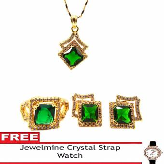 Jewelmine Arrow Emerald Cubic Zircon Jewelry Set with free Crystal Leather Strap Watch (gold) Price Philippines