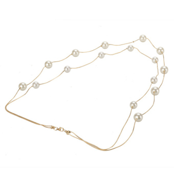 Harga Toprank Korea Ladies Nice Jewelry Pearl Double Layer Long Necklace