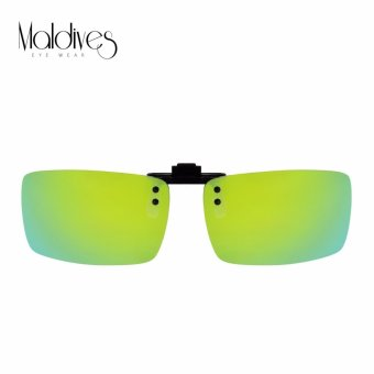 Harga Maldives F8-Y Mendez Men Fashion Rectangle Polarized Clip-on Lens Flip-up Driving Night Vision Sunglasses(Multicolor Green)
