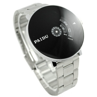 Harga Stainless Silver Band PAIDU Quartz Wrist Watch Black Turntable Dial Mens Gift (Silver)